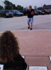 Dr. Fletcher throws out a ceremonial first pitch to his wife Kimm during their 1998 wedding at Comiskey Park I preserved home plate.