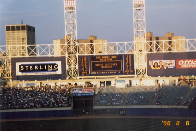 Scoreboard at Comiskey Park II during the 1998 Fletcher wedding.