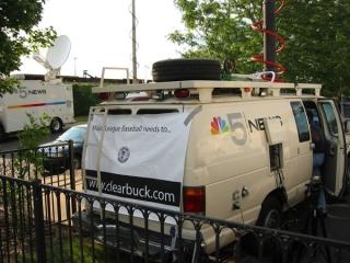 WMAQ-TV (NBC) news van supports the ClearBuck.com campaign.