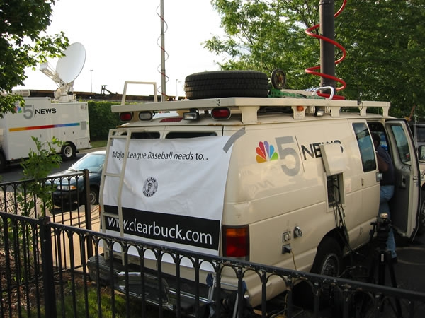 WMAQ-TV (NBC) news van supports the ClearBuck.com campaign.