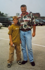 David's step-son Daniel poses with former White Sox player 'Belton' Bill Melton.