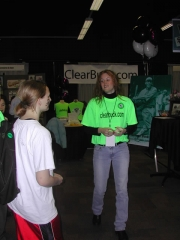 Amber solicits visitors at the 2003 SoxFest.