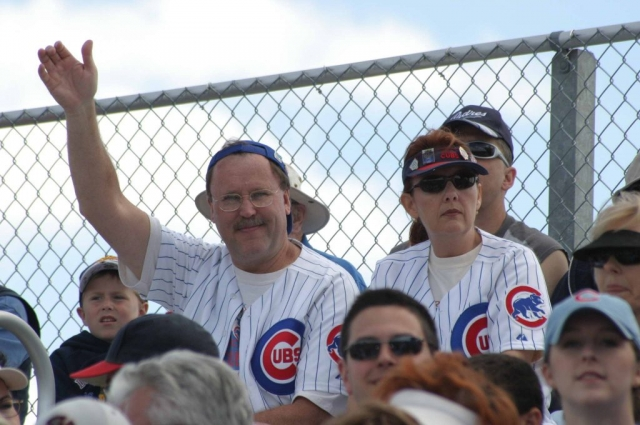 Representative Bob Churchill and Springfield lobbyist Mo Mulhall at Cubs spring training 2005.