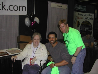 Patricia Anderson and Dr. David Fletcher with one of the White Sox broadcasters.