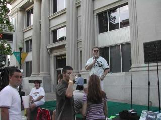 Dr. Fletcher speaks at a celebration in Decatur, IL.