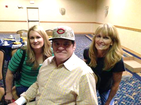 Kristi Berg, granddaughter of Pat Anderson; Pete Rose; and Sandy Schley, daughter of Pat Anderson, Champaign, IL, October 2013.