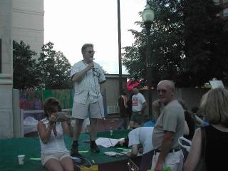 Dr. Fletcher talks at a celebration in Decatur, IL.