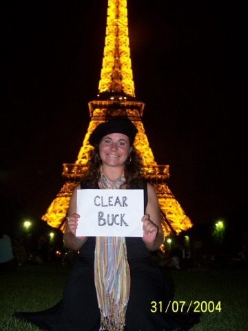 Tina Williamson supports ClearBuck in Paris, France.